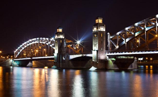 Steel bridge by night
