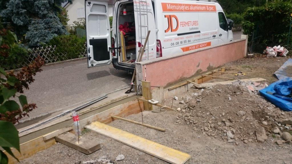 Réalisation chantier portails JD fermetures 68